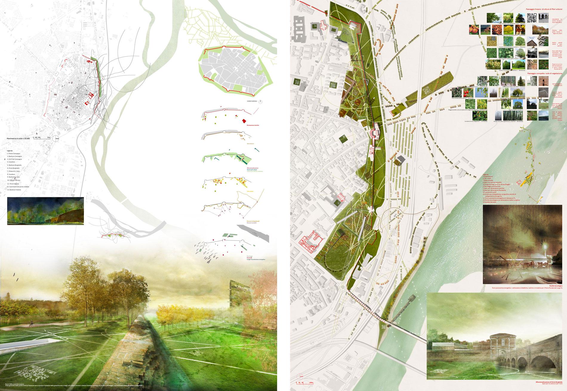 Ac q uater r a code valorizzazione del parco delle mura - Tavole di concorso architettura ...